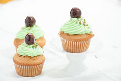 Three cupcake with cherry Royalty Free Stock Photography