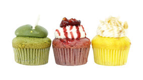 Three cupcake flavor with matcha green tea and strawberry and pumpkin Royalty Free Stock Photography