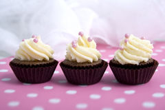 Three cupcakes. On pink Stock Photography