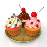 Three Cupcakes Stock Photography