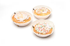 Three cupcakes Stock Images