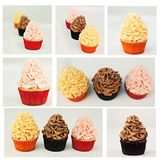 Three Cupcakes collage Stock Images