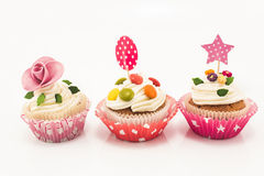 Three Cupcakes On A White Background Stock Photography