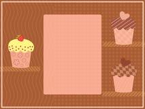 Three cupcakes on a shelf Stock Image