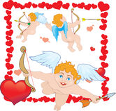 Three Cupid. In the frame of hearts Royalty Free Stock Photos