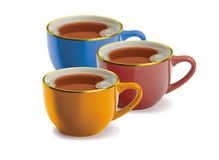 Three cups. Of tea on a white background Royalty Free Stock Photo