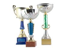 Three cups. Three shinning trophy cups Royalty Free Stock Image