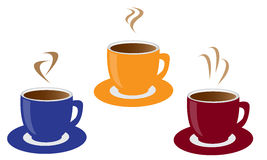 Three cups of coffee Stock Images