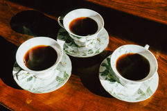 Three cups of coffee Royalty Free Stock Photo