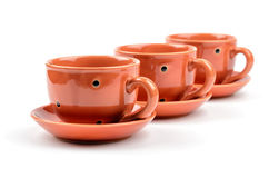 Three cups. Of coffee or tea on white background Stock Photos
