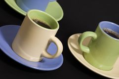 Three cups of espresso Stock Images