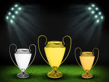 Three cups in the middle of field. Night football arena illuminated by spotlights. Three cups in the middle of field. Sports background Royalty Free Stock Image