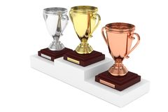 Three cups on pedestal. 3D rendering. royalty free stock image