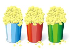 Three cups of popcorn. Illustration of three color cups of popcorn Stock Photography
