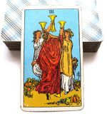 Three of Cups Tarot Card Celebration Weddings Toasts Friends, Get-Togethers Reunions Socialising. Celebration Weddings Toasts Friends, Get-Togethers Reunions Stock Photography