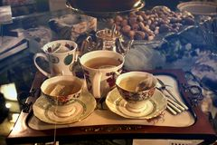 Three Cups of Teas on Serving Tray Stock Photography