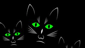 Three curious black cats in darkness animation royalty free illustration