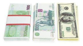 Three currencies Stock Images