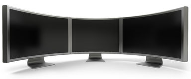 Three curved computer monitors. Three curved blank LCD computer monitors isolated on white stock illustration