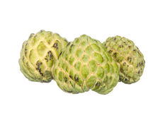 Three custard apples isolated on white Royalty Free Stock Photography