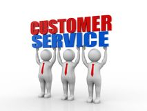 Customer Service Concept. 3d render. Three customer service representatives lift the words. 3d render Stock Photo