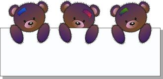 Three cute bears. Hoding a placard a header for websites Royalty Free Stock Photography