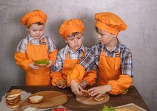 Three cute boys in costumes cooks engaged in cooking homemade burgers. Three brothers preparing family dinner stock image