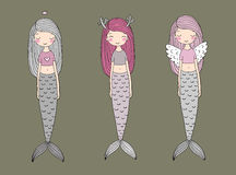 Three cute cartoon mermaids. Siren. Sea theme. vector illustration
