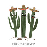 Three cute cartoon Saguaro cactus in sombrero. Friends forever text. Card could be used for cards or prints stock illustration