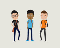Three cute cartoon students with backpacks Stock Photo