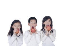 Three cute children eating an apples Royalty Free Stock Images