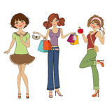 Three cute fashion girls Royalty Free Stock Photos