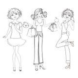 Three cute fashion girls, black and white  Stock Image
