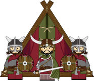 Three Cute Fierce Viking Warriors. Adorably Cute Fierce Little Norse Viking Warriors and Tent - Vector Illustration Stock Images