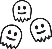 Three cute ghosts. Spooky vector Royalty Free Stock Images