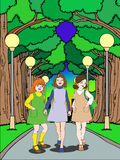 Three cute girl walking on park Stock Images