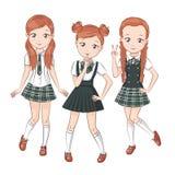 Three cute girlfriends. Stock Photo
