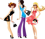 Three cute girls royalty free illustration