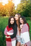 Three cute girls standing in the plaid outdoors, best friends having fun and laughing in park. Three cute girls standing in the plaid outdoors, best friends Stock Photography