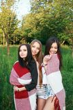 Three cute girls standing in the plaid outdoors, best friends having fun and laughing in park. Three cute girls standing in the plaid outdoors, best friends Royalty Free Stock Images