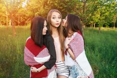 Three cute girls standing in the plaid outdoors, best friends having fun and laughing in park. Three cute girls standing in the plaid outdoors, best friends Stock Photos