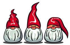 Three cute gnomes with white beards and long red hats Royalty Free Stock Photos
