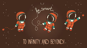Three cute hand drawn astronauts with stars floating in space Royalty Free Stock Images