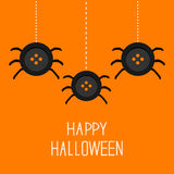 Three cute hanging button spiders on web. Happy Halloween card. Flat design. Vector illustration Royalty Free Stock Image