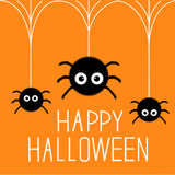 Three cute hanging fluffy spiders. Happy Halloween card. Flat design. Vector illustration Stock Images