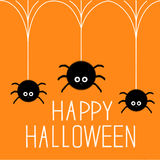 Three cute hanging fluffy spiders on web. Happy Halloween card. Flat design Stock Photography