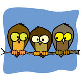 Three cute isolated cartoon birds in a tree branch Royalty Free Stock Image