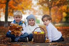 Three cute kids in the park, with leaves and basket of fruits. Sitting on a path Royalty Free Stock Image