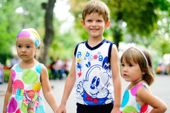 Three cute kids in the summertime Royalty Free Stock Photography