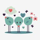 Three cute little birds. Illustration of three cute little birds vector illustration